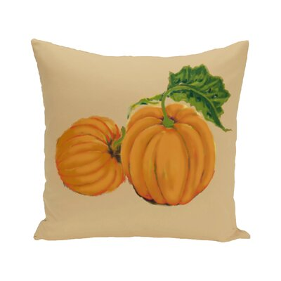 Pinero Pumpkin Patch Holiday Print Floor Throw Pillow Color: Gold