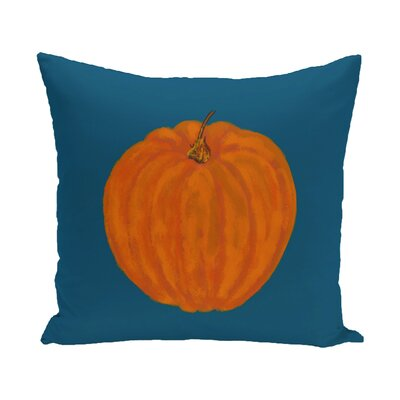 Lil Pumpkin Holiday Print Throw Pillow Color: Blue, Size: 20 H x 20 W