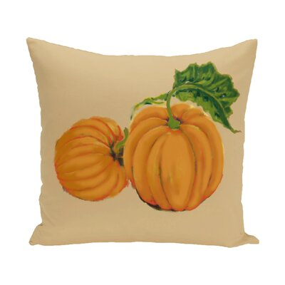 Pumpkin Patch Holiday Print Throw Pillow Size: 16 H x 16 W, Color: Yellow