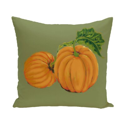 Pumpkin Patch Holiday Print Throw Pillow Color: Green, Size: 16 H x 16 W