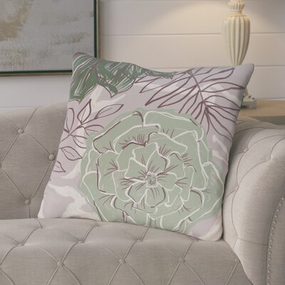 Ashley Flowers and Fronds Floral Print Outdoor Pillow Color: Pale celery, Size: 16 H x 16 W x 1 D