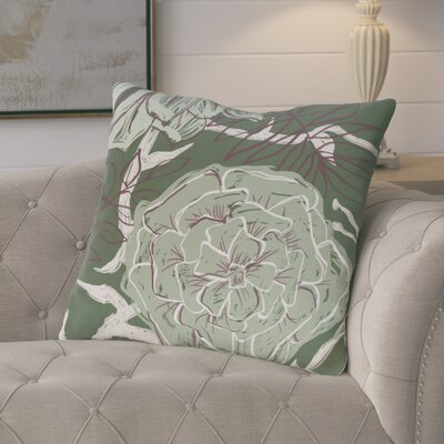 Ashley Flowers and Fronds Floral Print Outdoor Pillow Color: Herb Green, Size: 18 H x 18 W x 1 D