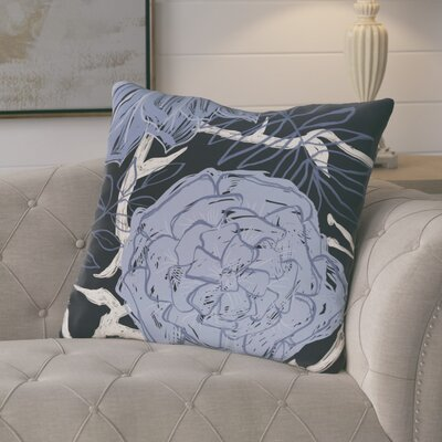 Ashley Flowers and Fronds Floral Print Outdoor Pillow Color: Peri, Size: 16 H x 16 W x 1 D
