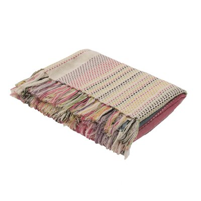 Celsie Handloom Modern Throw Blanket Color: Beigeg / Holly Berry
