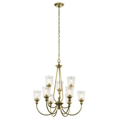 Marseilles 9-Light Shaded Chandelier Finish: Natural Brass
