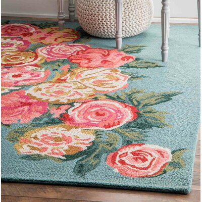 Jeanlouis Hand-Hooked Light Blue/Pink Area Rug Rug Size: Rectangle 5 x 8
