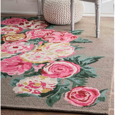 Jeanlouis Hand-Hooked Light Brown/Pink Area Rug Rug Size: Rectangle 76 x 96