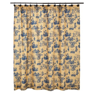 Imogene Cotton Shower Curtain Color: Blue
