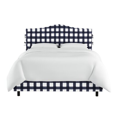 Ines Linen Upholstered Panel Bed with Ties Size: King, Color: Blue
