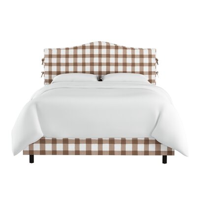 Linnet Linen Upholstered Panel Bed with Ties Size: King, Color: Taupe
