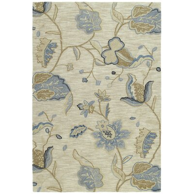 Allevard Ivory & Cream/Blue Hand Tufted Area Rug Rug Size: 9 x 12