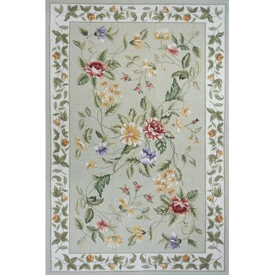Andillac Hand-Hooked Sage Area Rug Rug Size: Rectangle 36 x 56