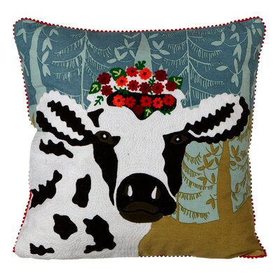 Dagmar Embroidered Cow with Flower Crown Cotton Throw Pillow