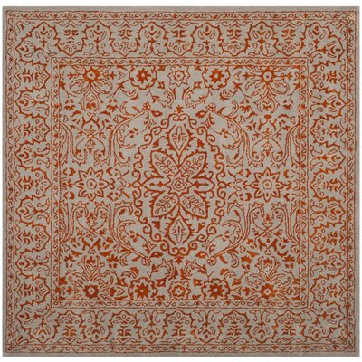 Prestige Hand-Tufted Gray/Rust Area Rug Rug Size: Square 6