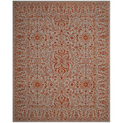 Prestige Hand-Tufted Gray/Rust Area Rug Rug Size: Rectangle 5 x 8