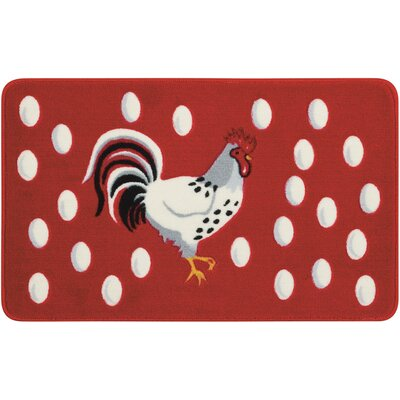 Greenmeadow Red/White Novelty Rug Rug Size: 16 x 26