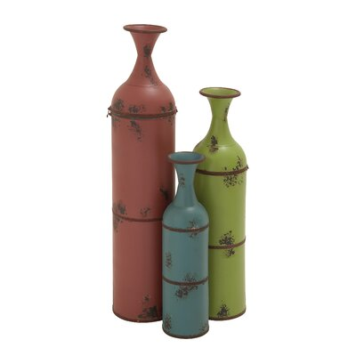 3 Piece Trumpet Metal Bottle Vase Set