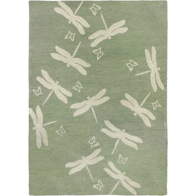 Castellane Dragonfly Field Hand Hooked Sage Green Indoor/Outdoor Area Rug Rug Size: 3 x 5