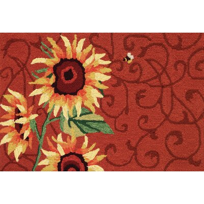 Valois Red Sunflower and Bee Rug