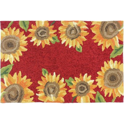 Valois Sunflower Field Red/Yellow Indoor/Outdoor Area Rug Rug Size: 110 x 210