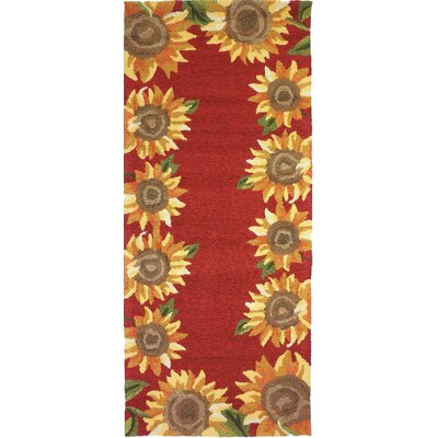 Valois Sunflower Field Red/Yellow Indoor/Outdoor Area Rug Rug Size: Runner 22 x 5