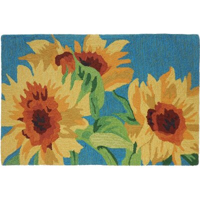 Valois Sunflowers on Teal Area Rug