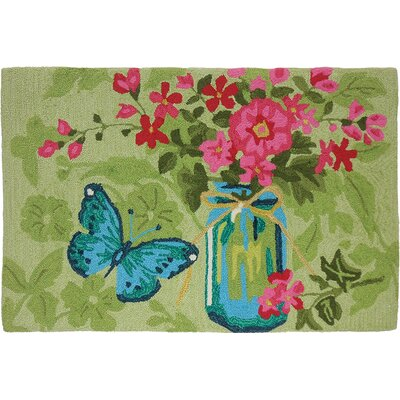 Valois Jar Flowers Light Green Area Rug