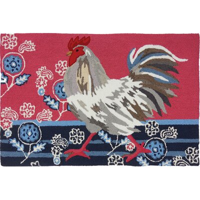 Valois Patriotic Rooster Dark Blue/Red Area Rug