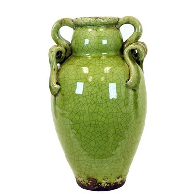 Ceramic Tuscan Vase with 2 handles in Craquelure Gloss Color: Green, Size: 12 H x 11 W