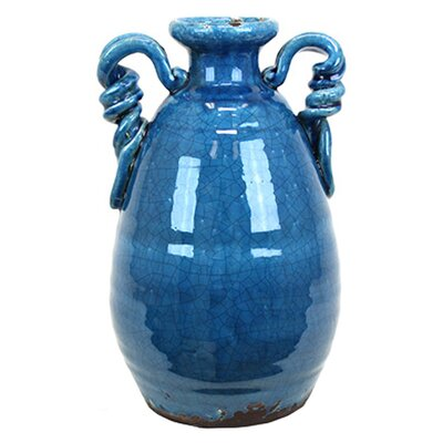 Amphora Ceramic Tuscan Vase Color: Marine Blue