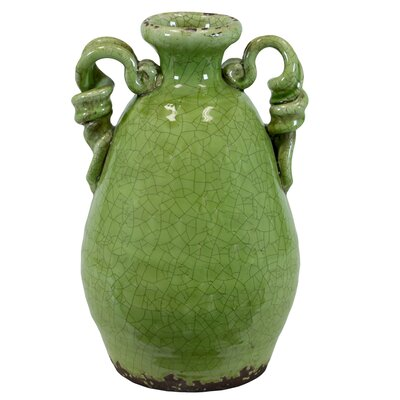 Amphora Ceramic Tuscan Vase Color: Yellow Green