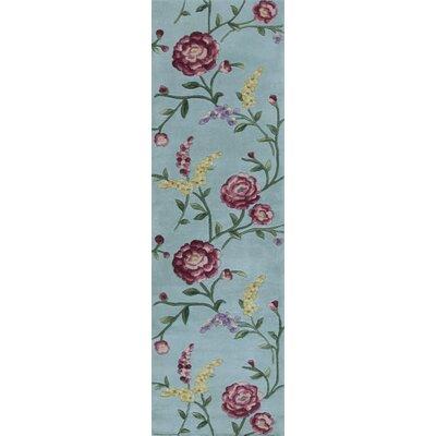 Yvonne Blue Floral Vines Area Rug Rug Size: Runner 23 x 76