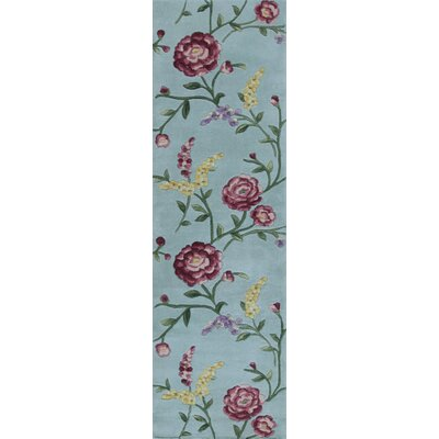 Yvonne Blue Floral Vines Area Rug Rug Size: 53 x 8