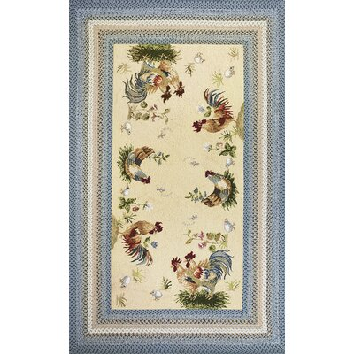 Zoey Blue/Beige Rooster Pen Area Rug Rug Size: Rectangle 76 x 96