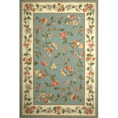 Labrosse Slate Blue / Ivory Floral Area Rug Rug Size: Rectangle 18 x 26