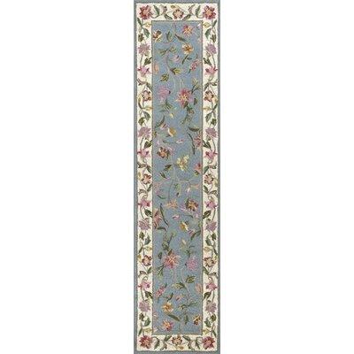 Labrosse Slate Blue / Ivory Floral Area Rug Rug Size: Runner 2 x 8