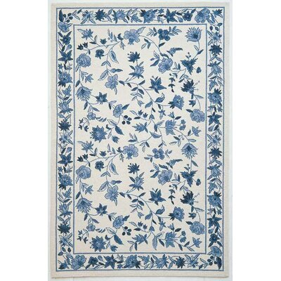 Labrosse Ivory/Blue Floral Area Rug Rug Size: Rectangle 53 x 83