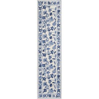 Labrosse Ivory/Blue Floral Area Rug Rug Size: Runner 2 x 8