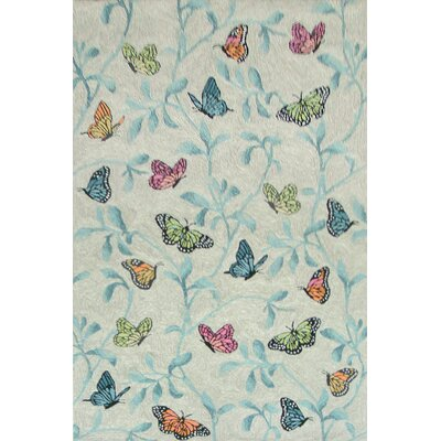 Dazey Butterflies on Tree Hand-Tufted Beige/Blue Indoor/Outdoor Area Rug Rug Size: 5 x 76