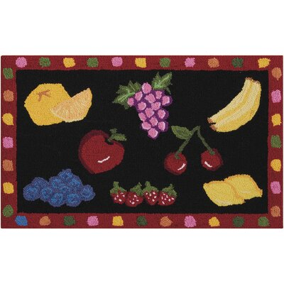 Chatelaine Hand-Tufted Black/Red Area Rug Rug Size: 23 x 39