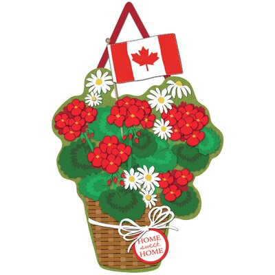 Canadian Basket of Flowers Burlap Door Sign AGGR1613 36906972