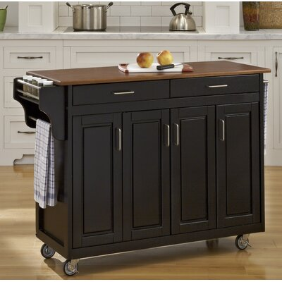 Regiene Kitchen Island Finish: Black