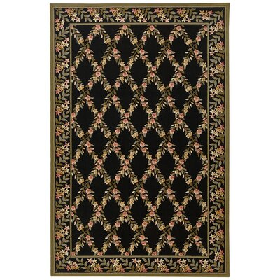 Pipers Black/Green Area Rug Rug Size: 86 x 116
