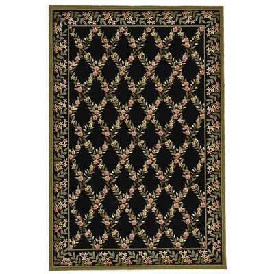 Pipers Black/Green Area Rug Rug Size: 79 x 99