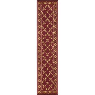 Pipers Hand-Hooked Red/Tan Area Rug Rug Size: Runner 23 x 10