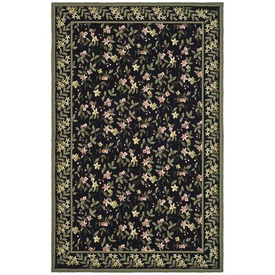 Pipers Black / Green Rug Rug Size: 56 x 86
