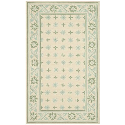 Pipers Beige/ Light Green Area Rug Rug Size: 56 x 86