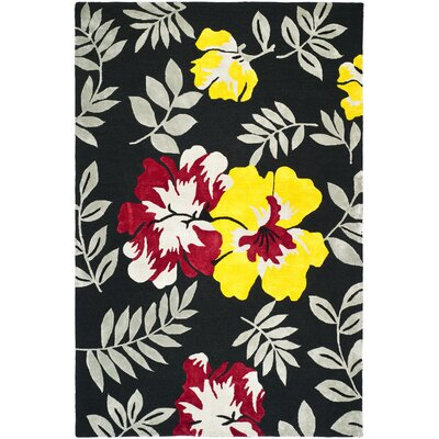 Pipers Black/ Yellow Area Rug Rug Size: 39 x 59