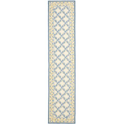 Pipers Ivory/Blue Area Rug Rug Size: Runner 23 x 10