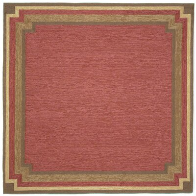 Dazey Red Border Outdoor Rug Rug Size: Square 8